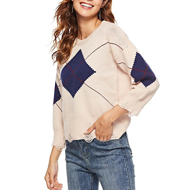 Plaid Round Collar Hollow Long Sleeve Sweater