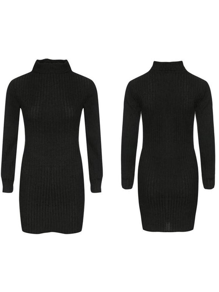 Sexy High Collar Long-Sleeved Knitted Mini Dress