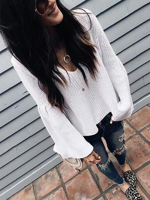 Fashion Pure Color Sexy V Collar Pit Horn Sleeve Sweater