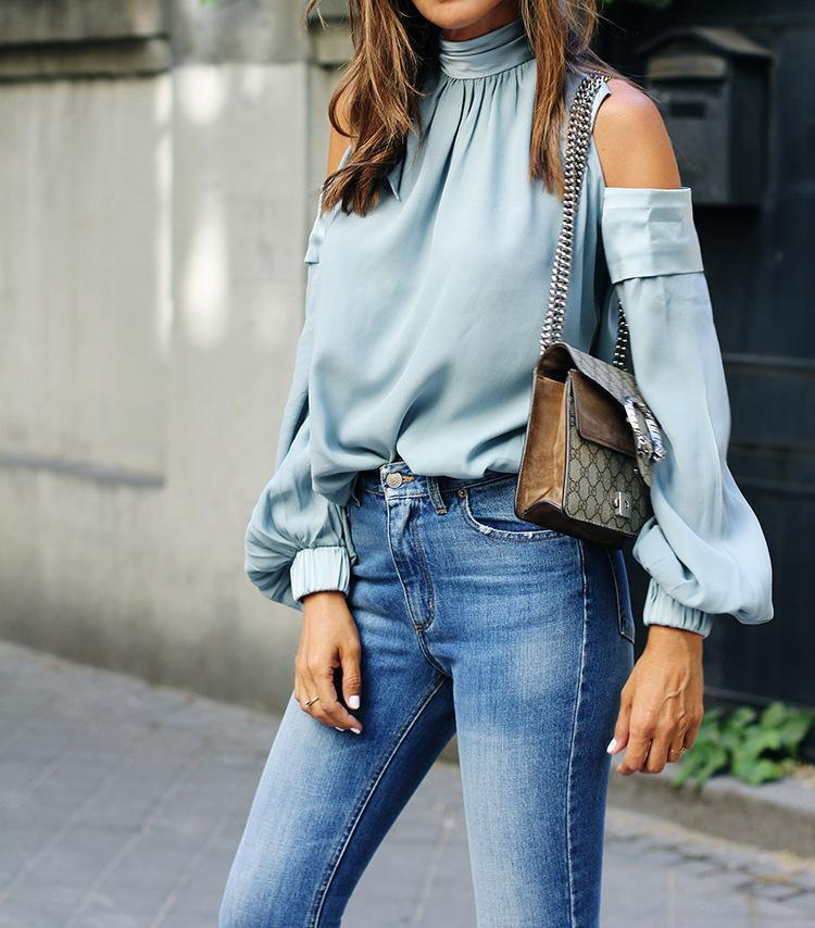 Fashion Sexy Shoulder Loose Solid Color Top