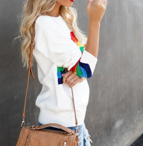 Fashion Six-Color Rainbow Striped Jacquard Bag Sweater