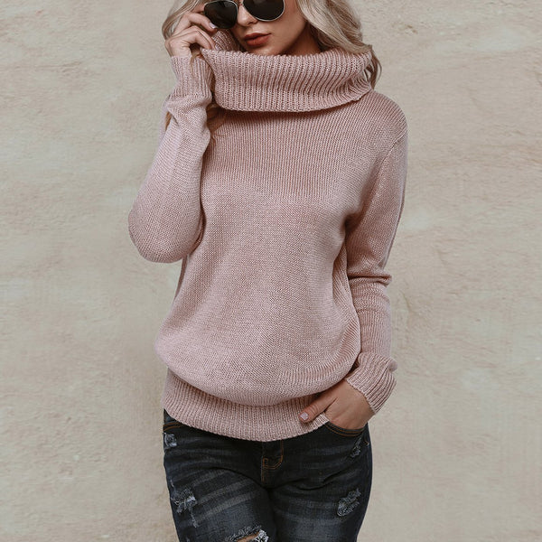 Fashion Loose High Collar Plain Soft Knit Sweater