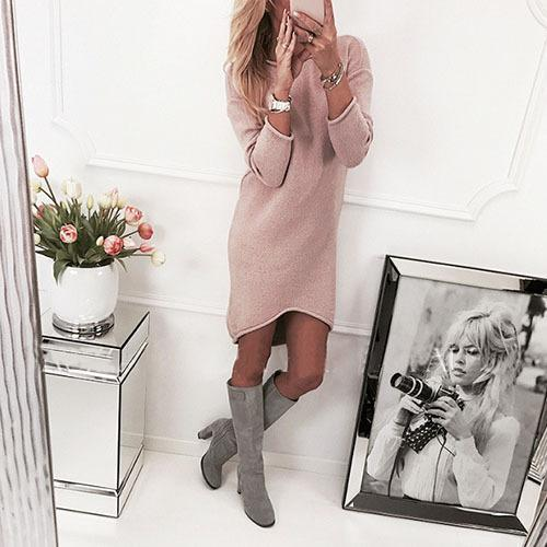 Sexy Pure Color Long Sleeve Collar Irregular Knitted Sweater Mini Dress