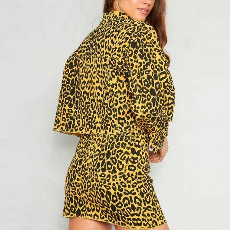 Fashion Leopard Printed Casual Suit
