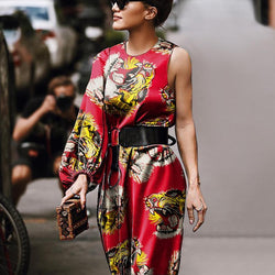 Fashion Vintage Tiger Head Print Strapless Maxi Dress