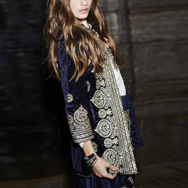 Fashion Vintage Printed Embroidery Long Sleeve Coat