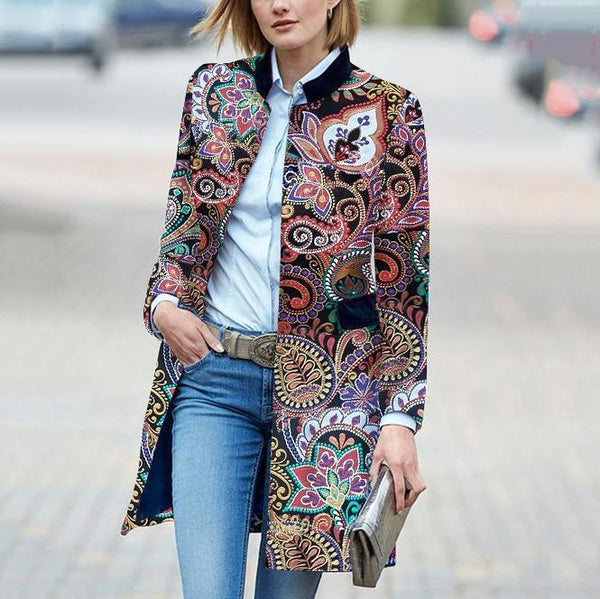 Fashion Floral Pattern Long Sleeve Coat
