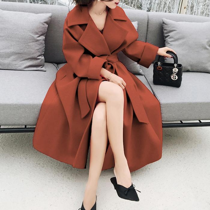 Sexy Lapel Collar Self-Tie Long Sleeves Cardigan Coat