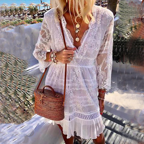 Women's Fashion Solid Color Lace Stitching V-Neck Skater Dresses