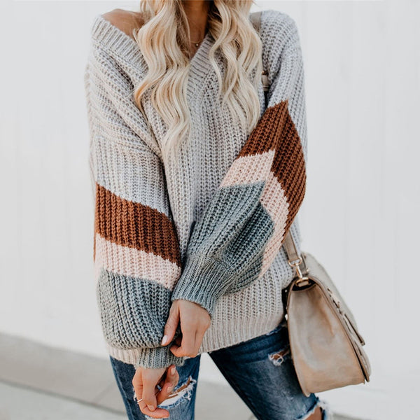 Fashion V-Neck Lantern Sleeve Striped Spell Color Knit Sweater