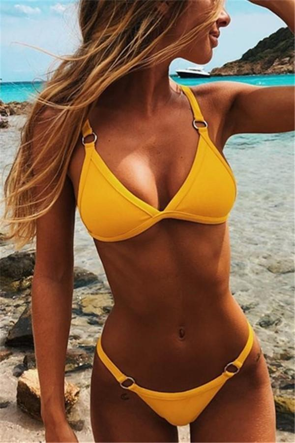 Vacation Sandbeach   Sexy Pure Color Swimsuits Bikini