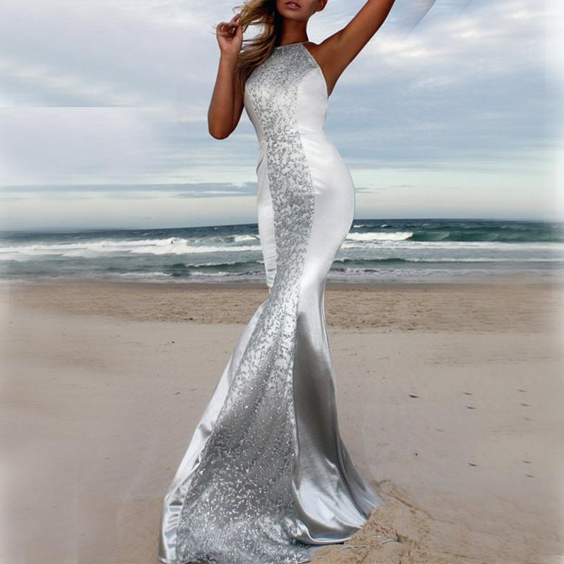 Fashion Sexy V Neck   Backless Shown Thin Sparkling Crystal Evening Maxi Dress