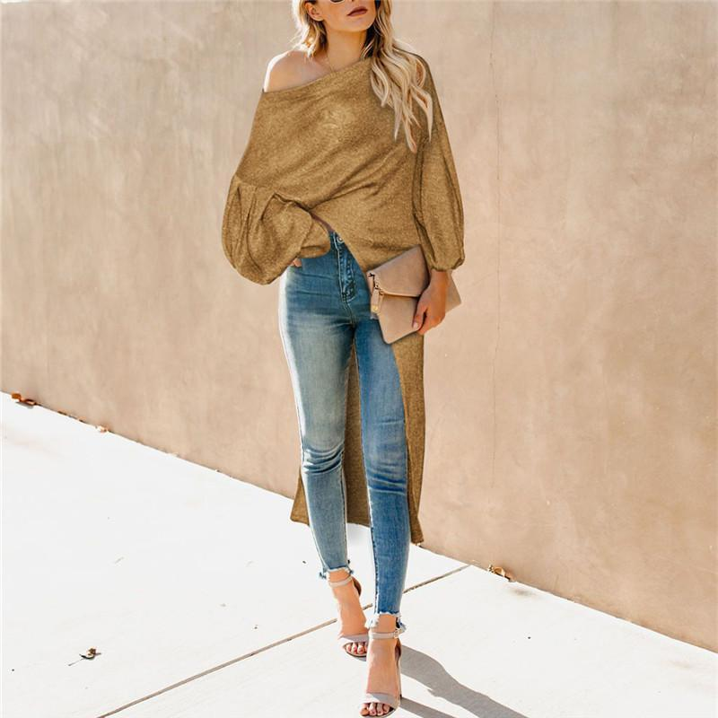 Fashion Shoulder Pure   Color Bubble Sleeve Irregular Top