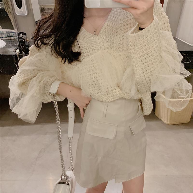 Casual V Neck Grenadine Stitching Long Sleeve Knitted Sweater