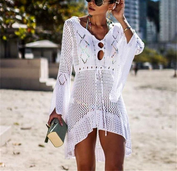 Casual Sexy Hollow Out   Sandbeach Knitted Sweater Sunscreen Mini Dresses