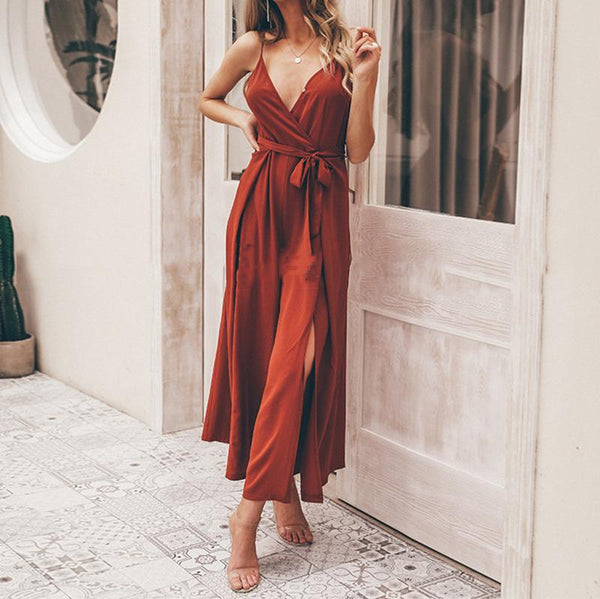 Fashion V Neck Sling Slit Long Jumpsuits