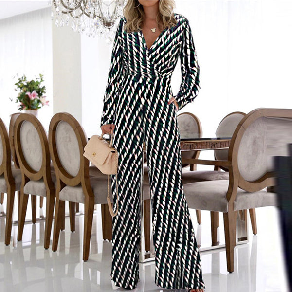 Fashion V Collar Printing Jumpsuits