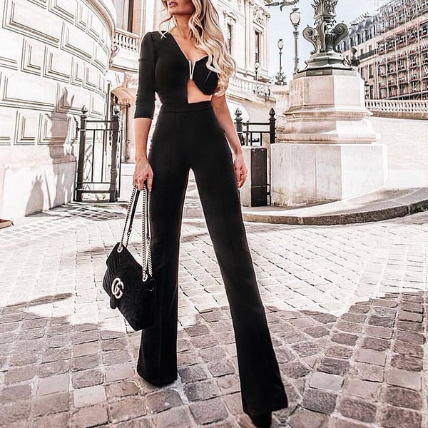 Modern Irregular Off-Shoulder Wide-Leg Pure Colour Jumpsuits