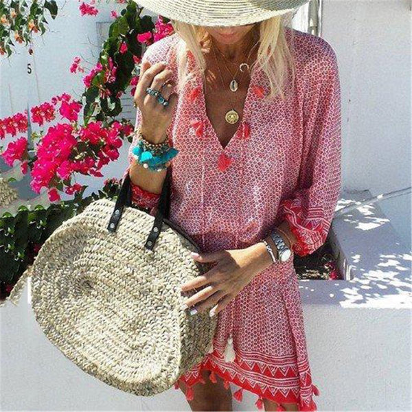 2019 V Collar  Defined Waist Loose Vacation Dress