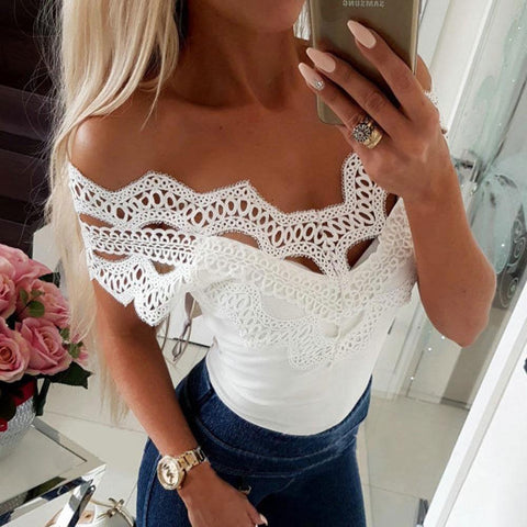 Sexy Lace Split Joint Plain Slim Off Shoulder T-Shirts