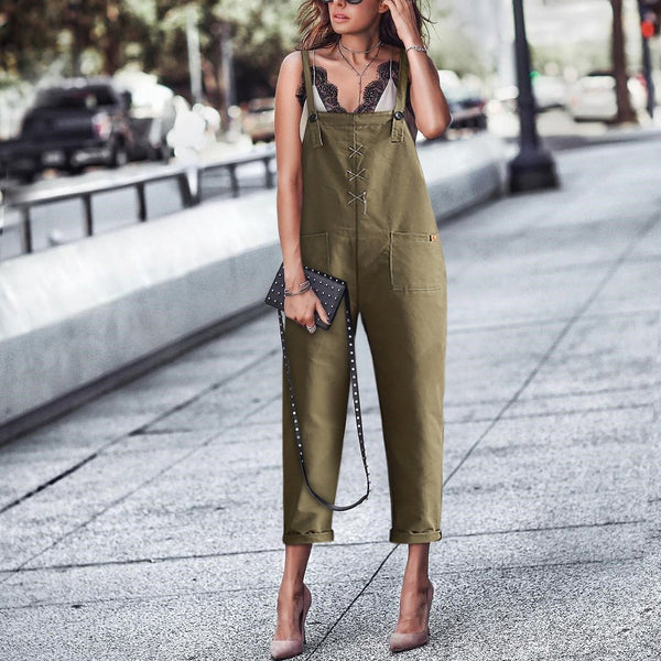 Casual Pure Colour Sleeveless Haren Strap Jumpsuits