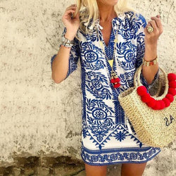 Bohemian Vintage Printed Summer Loose Shift Beach Mini Dress