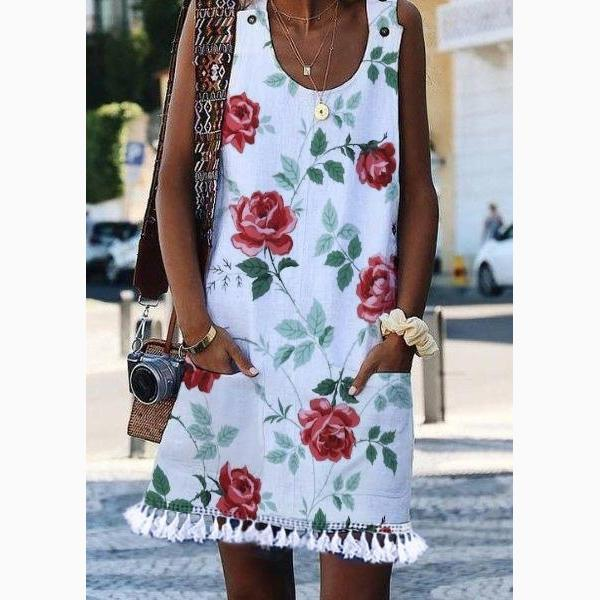 Women's Casual Printing Sleeveless Vest With Knee-Length Skirt