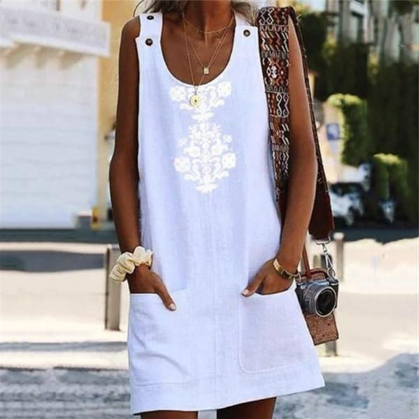 Fashion Printed Button Vest Mini Dresses