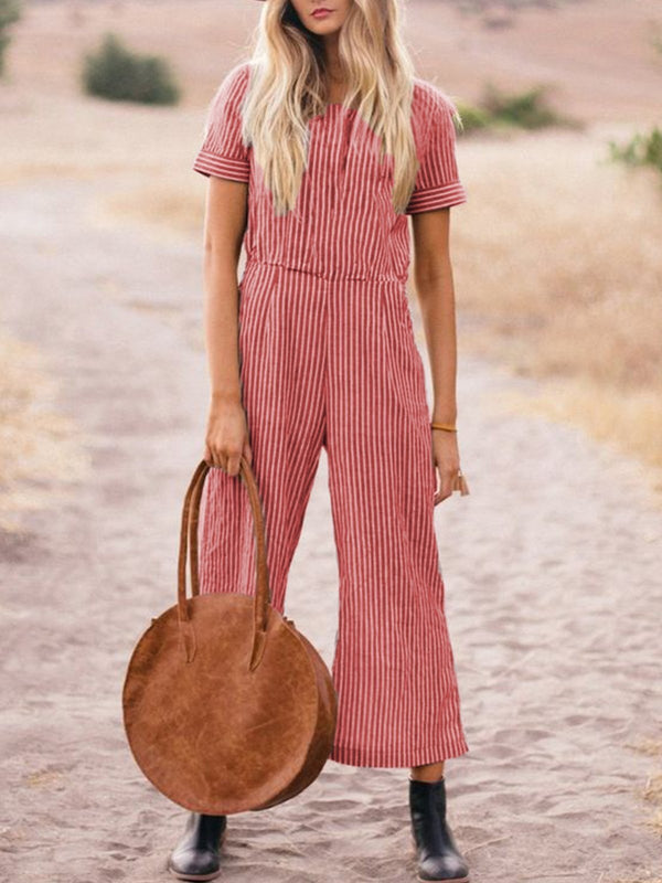 Cotton And Linen Striped Wide Leg Jumpsuit