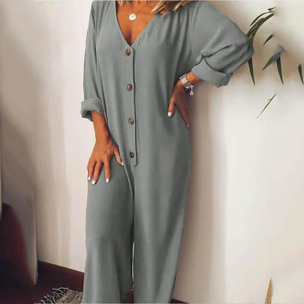 Fashion Pure Color Loose Leisure Jumpsuits