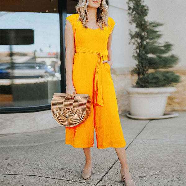 Stylish Round Neck Sleeveless Solid Color Jumpsuit