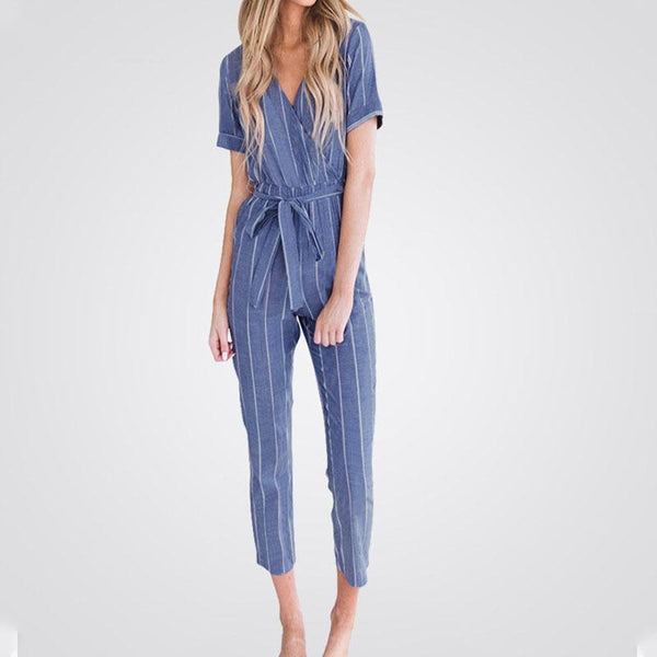 Commuting V Neck Belted Short Sleeve Striped Jumpsuit