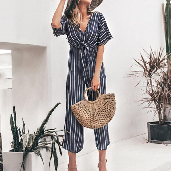 Sexy Stylish Striped Casual Jumpsuit