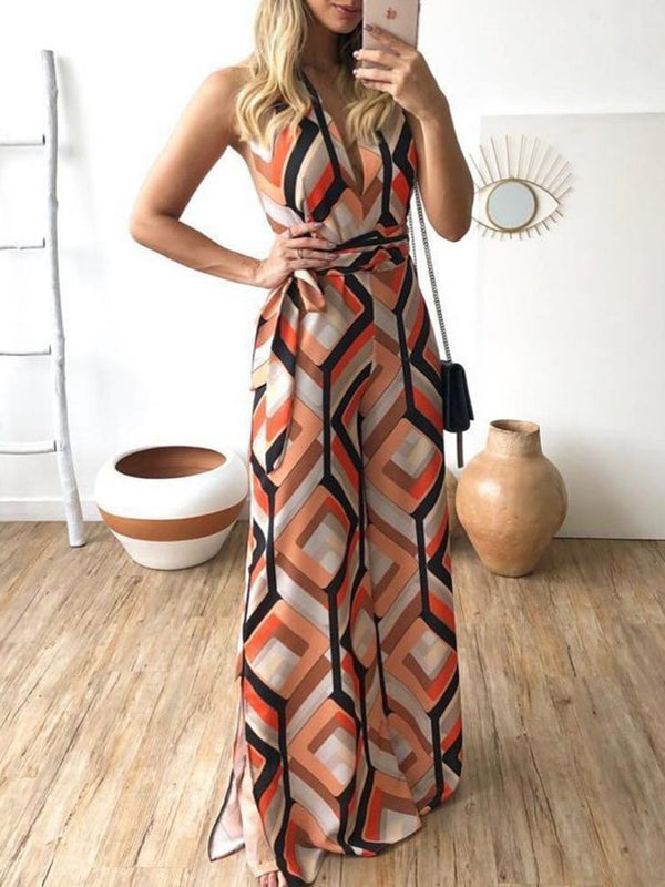 Temperament Commuting Printed Colour Sleeveless Straight Jumpsuit