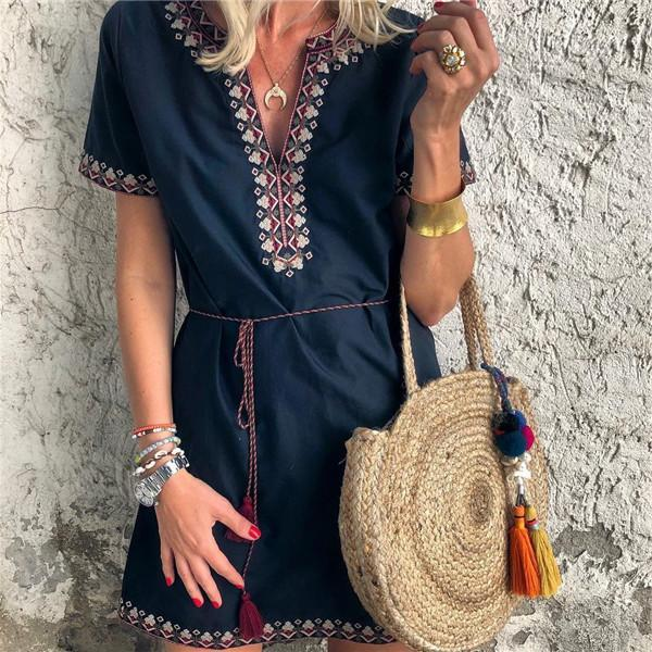 Fashion V Collar Printed Short Sleeves Mini Dresses