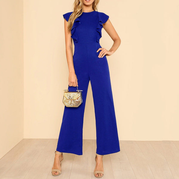Commuting Ruffled Sleeveless Pure Colour Jumpsuits