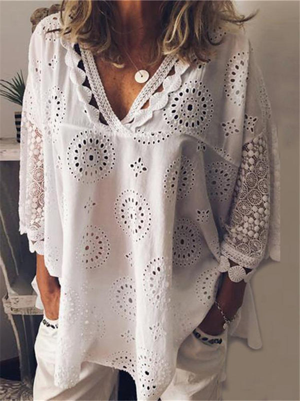 Fashion V Neck Lace Hollow Out Shirt