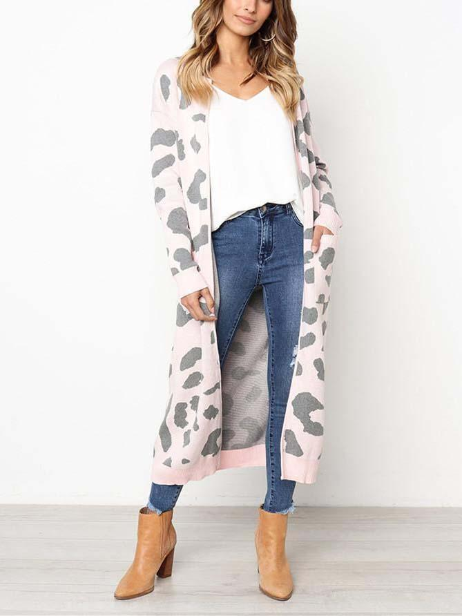 Leopard Pattern Long-Sleeved Knitted Long Sweater Cardigan