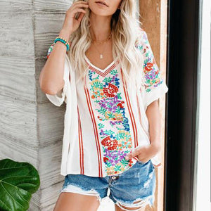 Fashion V-Neck Printed Short Sleeve T-Shirt