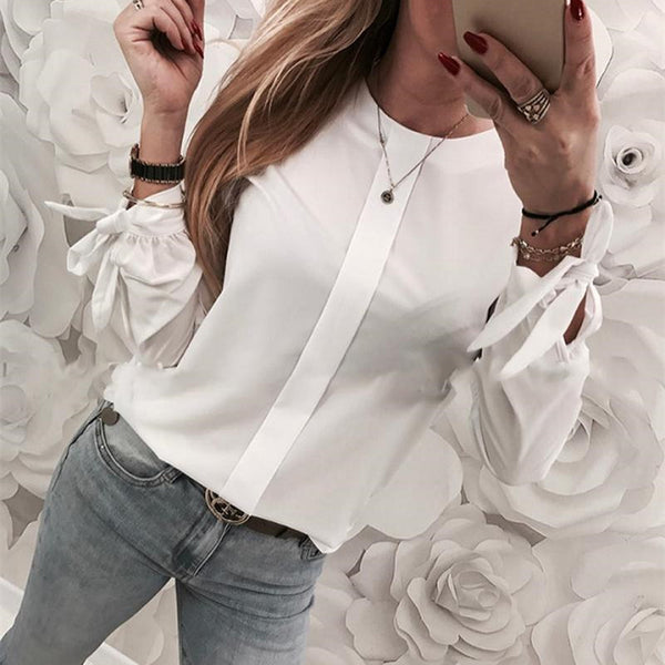 Fashion Round Collar Pure Color Long Sleeved Shirt