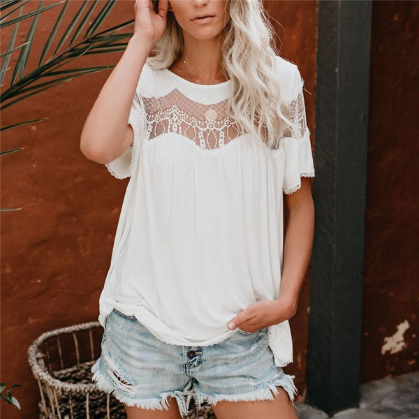 Sexy Lace Stitching Perspective Short Sleeved T Shirt