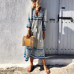 V-Neck Cotton And Linen Printed Tassel Casual Maxi Dress