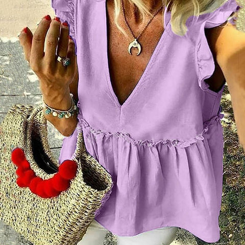 Casual V Neck Short Sleeve Ruffled Loose Pure Colour Top