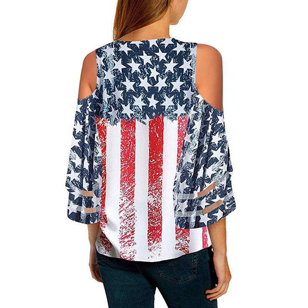 Flag Print Crepe Neck Mesh With Seven-Point Sleeves T-Shirt