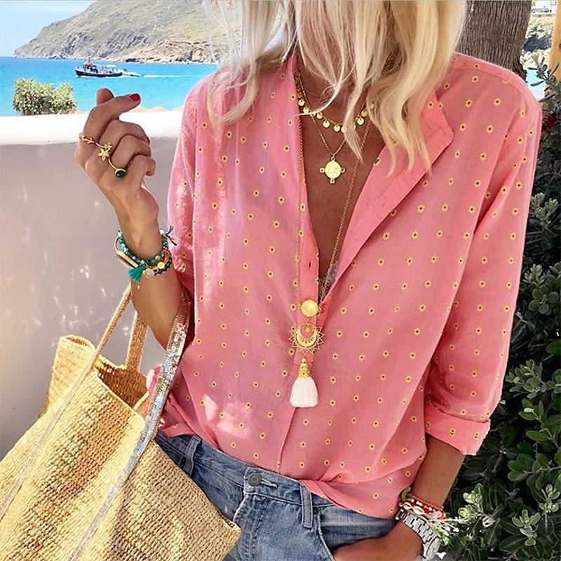 Casual Printed Colour Long Sleeve Single-Breasted Blouse