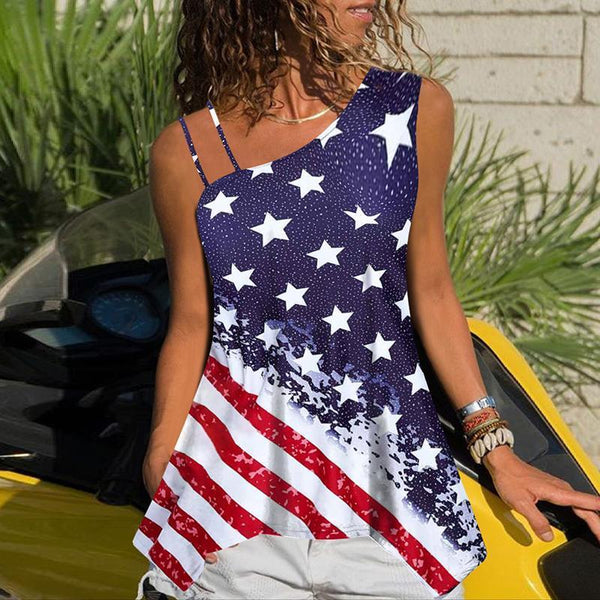 Casual Sloping Shoulder Sleeveless Star-Spangled Banner T-Shirt