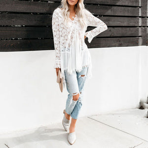 Classy V Neck Long Sleeve Splicing Lace Shirt