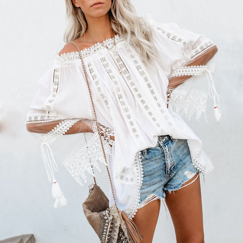Classy Off The Shoulder Splicing Lace Pure Colour Shirt