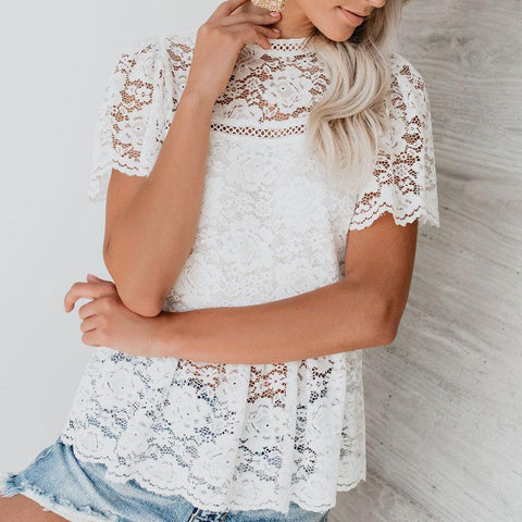 Classy Hollow Out Splicing Lace Shirt