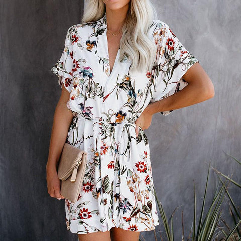 Casual V Neck Printed Colour Belted Dress